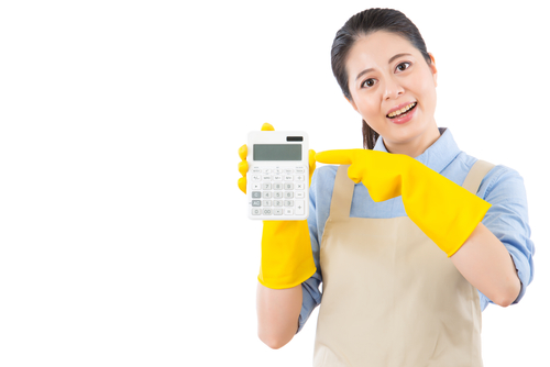 Maid showing the price of a cleaning service on calculator -House cleaning rates